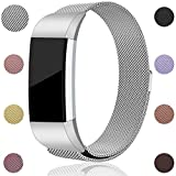 For Fitbit Charge 2 Bands, Maledan Stainless Steel Milanese Loop Metal Replacement Accessories Bracelet Strap with Unique Magnet Lock for Fitbit Charge 2 HR Silver Large