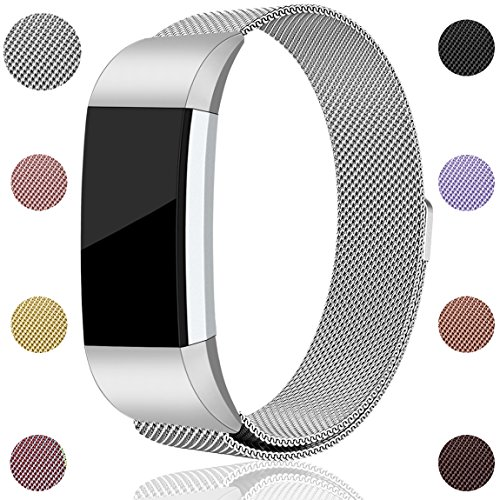 Maledan for Fitbit Charge 2 Bands, Stainless Steel Milanese Loop Metal Replacement Accessories Bracelet Strap with Unique Magnet Lock for Fitbit Charge 2 HR Silver Small