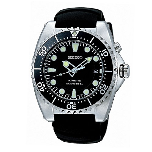 SEIKO SKA371P2 Kinetic Dive Silver-Tone Watch with rubber strap (Kinetic Dive Watch)