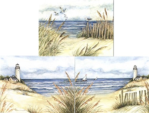- Scenic Blank Note Cards and Envelopes ~ Lighthouse Beach Scene (9 Cards, 3 Styles; 4