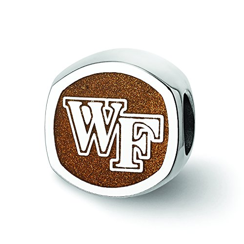 Logoart Sterling Silver Wake Forest University''wf'' Primary Cushion Shaped Double Logo Bead by LogoArt