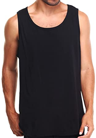 dbb6c19287b736 2 Pack Men s Plain Black Tank Top PRO 5 Athletic Blank Tees (S - Small