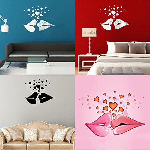 Loves Wall Kiss Mirror - C&C Products Love Kiss Lips Hearts Pattern Mirror Wall Art Stickers