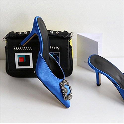 tacón Mujeres Black Vestido de de 6 Diamantes Inside 5cm Grueso en Zapatos tacón tacón Tacon con Insole Satinado clásico T Alto Chris Blue gqOB45x