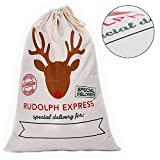 Santa Sack for Christmas Kids Christmas Bag Santa Bag Burlap Xmas Gift Bags (KS-No.4, 1 Pack)