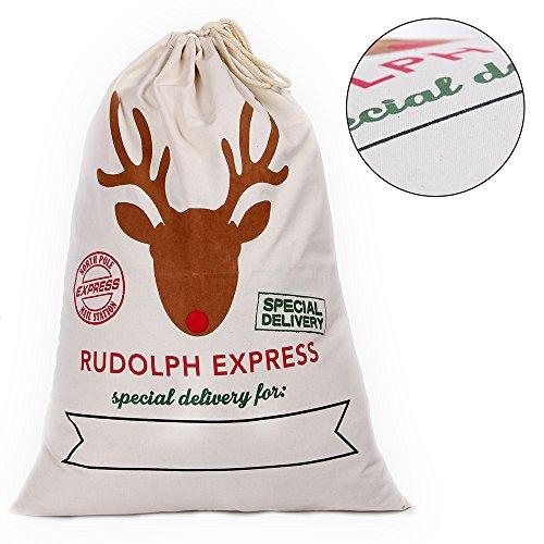 Santa Sack for Christmas Kids Christmas Bag Santa Bag Burlap Xmas Gift Bags (KS-No.4, 1 Pack) by Kakukasell