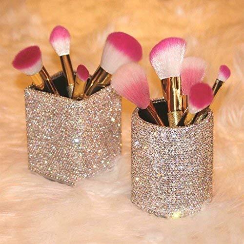 TISHAA Glamour Shiny Sparkle Luxury Crystal Bling Bling Rhinestone Makeup Brush Holder Set (Brush Holder Set)(Cylinder and Cube)
