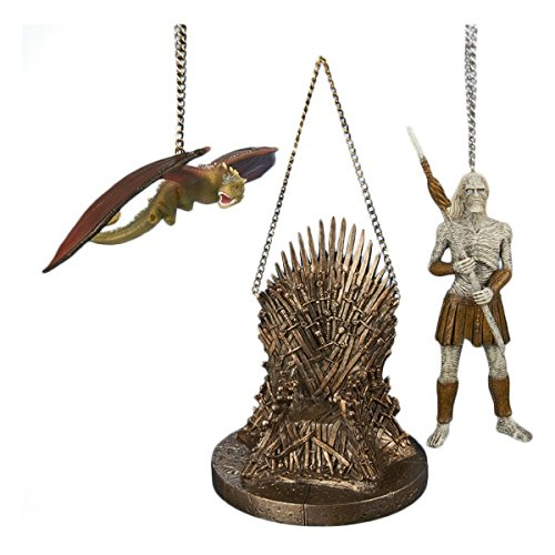 Kurt Adler 1 Set 3 Assorted Iron Throne, White Walker And Dragon Resin Game of Thrones Ornaments