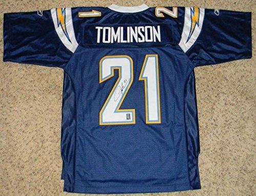 Autographed LaDainian Tomlinson Jersey - Reebok Premier #21 Navy - Autographed NFL Jerseys ()