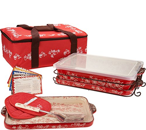 Temp-tations 13 inchx9 inch 4 Quart Baker, Insulated Tote, 2 Stoneware Trays(Lid-It), Plastic Cover, Utensil, 2 Mitts (Floral Lace Red)
