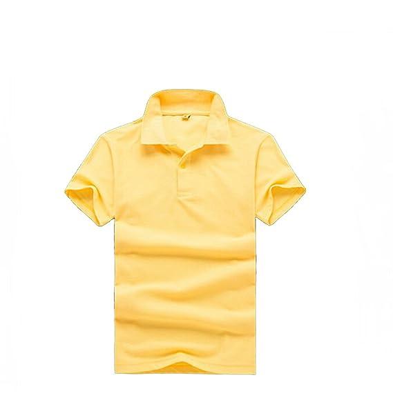 TONGHAI Men's Pure Light Yellow Cotton Polo Shirt at Amazon
