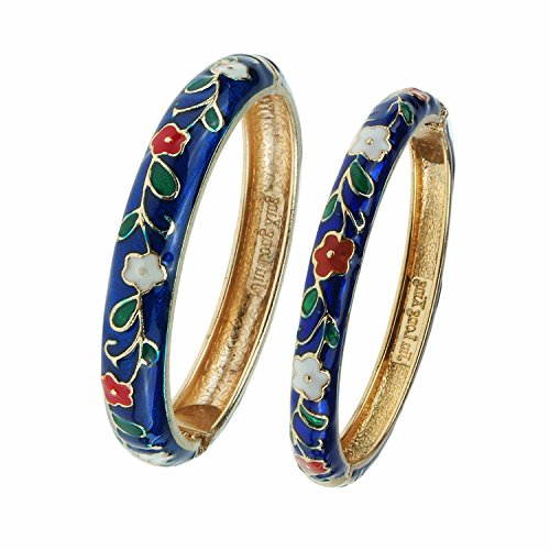UJOY Fashion Cloisonne Bracelet Enameled Flower Indian Style Woman Girls Hinge Bangle Jewelry Gift Bracelets Box 55A46-B38 Navy Blue