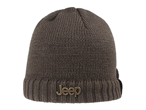 Jeep Thick Slouchy Knit Oversized Beanie Cap Hat (Free Size, Coffee)