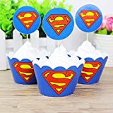 12pc Superman Cupcake Topper and Cupcake Wrapper Picks Boy Children Superhero Party Decoration Kid's Birthday Avengers Party Decoration Supplies