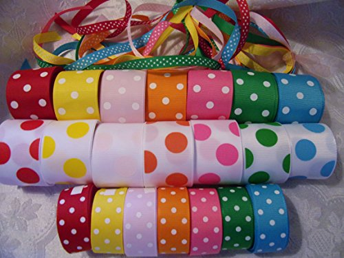 Swiss Dot Grosgrain Hair Bow - Grosgrain Ribbon Lot - 3/8