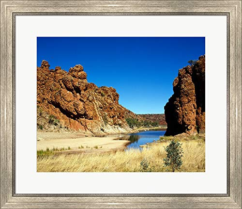 - Lake Surrounded by Rocks, Glen Helen Gorge, Northern Territory, Australia Framed Art Print Wall Picture, Silver Scoop Frame, 28 x 24 inches