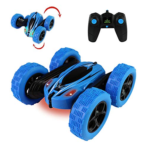 Jellydog Toy Stunt Rc Car, Remote Control Car, 360 Degree Flips Double Sided Rotating Race Car, High Speed Flashing Remote Controlled Car for Kids,Blue (Best Remote Control Toy For 4 Year Old)