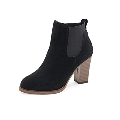 1bb11b4b3ca5 Women Chunky Heel Ankle Boots Fashion Suede Leather Platform Boots Slip on  Bootie Autumn Winter (