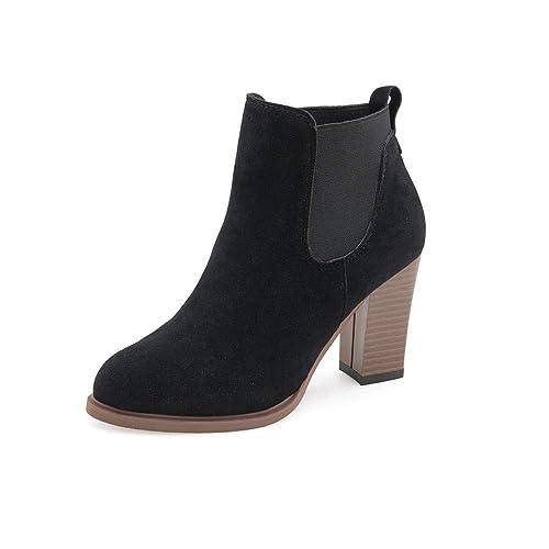 Logobeing Botas de Mujer con Tobillo Clásica Moda Zapatos de Mujer Plataforma Botines Mujer Tacon Botas Cuadradas Botines de Tacón Alto Botines de Invierno ...