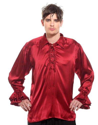Medieval Frilly Ruffled Pirate Costume Shirt (Wine, Medium) ()