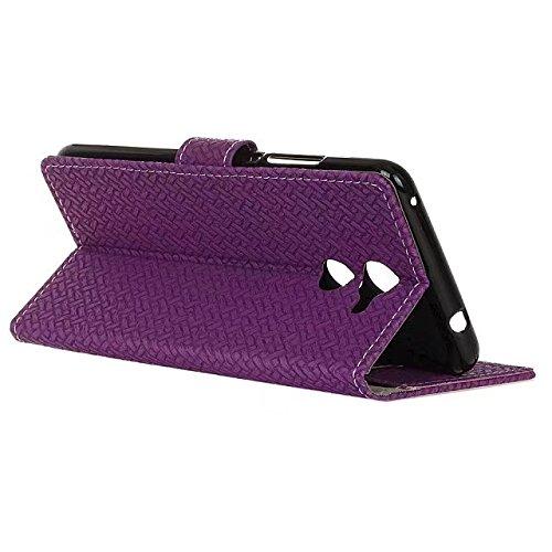 YHUISEN Vodafone Smart V8 caso, patrón de armadura de cierre magnético de cuero de la PU Cartera Flip Folio con la cubierta de la caja de la ranura para tarjeta de protección para Vodafone Smart V8 (  Purple