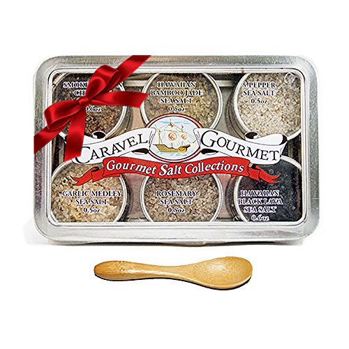 Finishing Sea Salt Collection - The Infused Sea Salt Sampler - Perfect as a Gift Set - Reusable Tins & Bamboo Spoon - Black Lava, Bamboo Jade, Smoked Bacon Chipotle, Garlic Medley, 5 Pepper, Rosemary - 1/2 oz. each, 3 total oz.