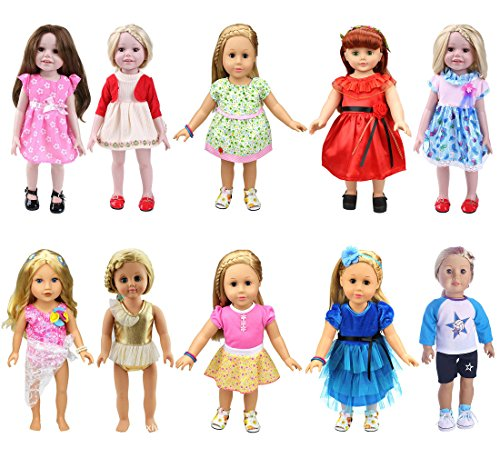 TianBo 10pcs Mix 18 Inch Doll Clothes - Beautiful Skirt /Bikini/Football Clothing with Dots Outfit Fits 18inch American Girl Dolls Our Generation , My Life Doll ()