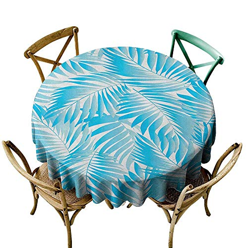 Premium Round Tablecloth 48 inch Leaf,Miami Tropical Aquatic Palm Leaves with Exotic Colors Modern Summer Beach, Turquoise Aqua Blue Great for Buffet Table, Parties, Holiday Dinner & More -