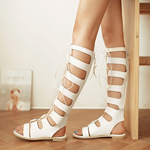 Wealsex Ladies Womens Flat Strappy Cut Out Lace up Roman Leather Knee High Gladiator Sandals Peep Toe Zip Summer Dress Shoes White c0Etfb