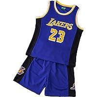Conjunto de Baloncesto para niños - Lebron James # 23-Los Angeles Lakers Classic sin Mangas Bordadas sin Mangas y…