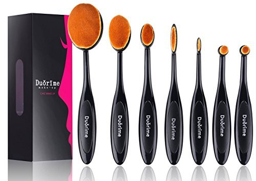Duorime New 7pcs Black Oval Toothbrush Makeup Brush Set Cream Contour Powder Concealer Foundation Eyeliner Cosmetics Tool