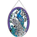 """White & Blue Peacock Stained Glass Suncatcher From Joan Baker 9"""" x 6.5"""""""