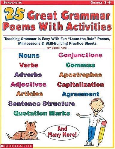 Amazon.com: 25 Great Grammar Poems with Activities (Grades 3-6 ...