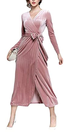 Ur-fashion Womens Autumn Maxi Dress Velvet Belted V-Neck Wrap Long Dresses Pink