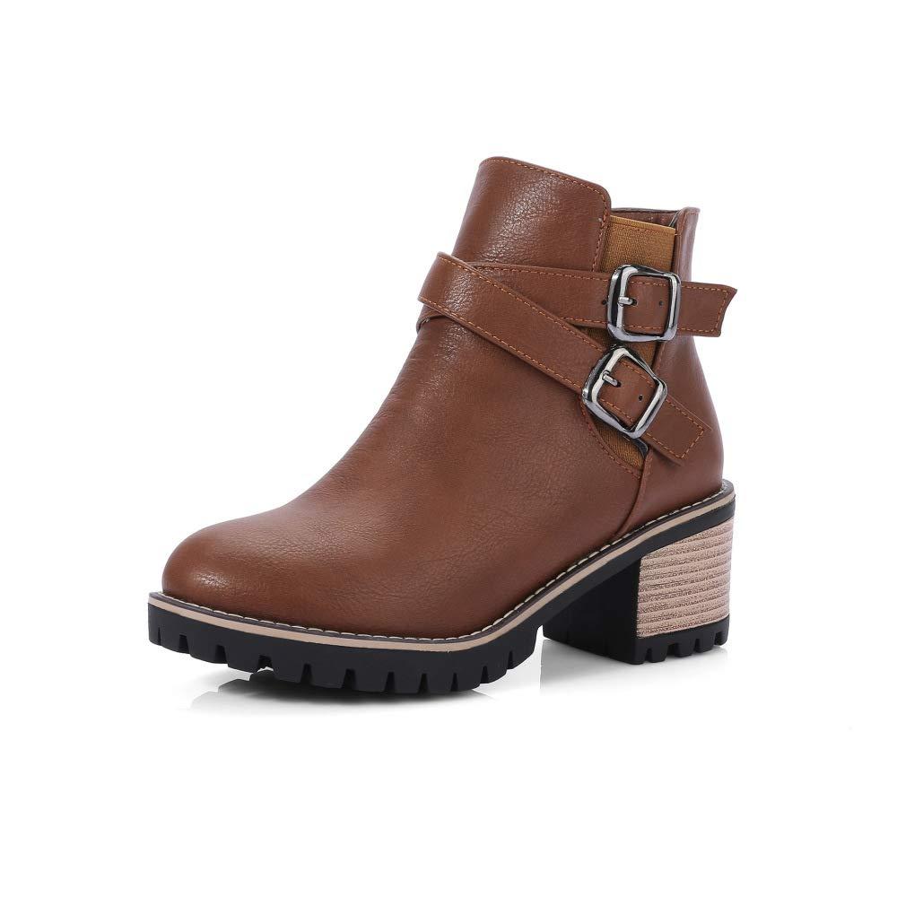 QINGMM Frauen Britische Art Schnalle Martin Stiefel Stiefel Stiefel 2018 Herbst High Heel Leder Stiefeletten Größe 40-43 848057