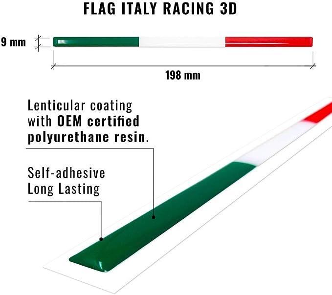 Stripe Striscia Adesiva 3D Tricolore Italia per Portatarga Auto
