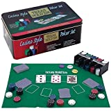 PROFESSIONAL TEXAS HOLD'EM POKER GAME SET GAMING MAT 200 PIECE WITH CHIPS, DECKS PLAYING CARDS AND TIN BOX - HOLD EM POKER SET