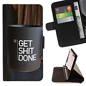 - Queen Pattern FOR HTC One M7 /La identificaci????n del cr????dito ranuras para tarjetas tir????n de la caja Cartera de cuero cubie - get done things coffee inspiring text -