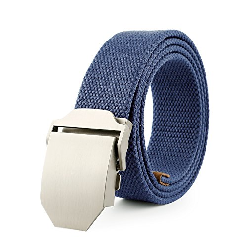 JasGood Mens Outdoor Military Style Tactical Canvas Web Belt Stainless Steel Buckle (Dark Blue)