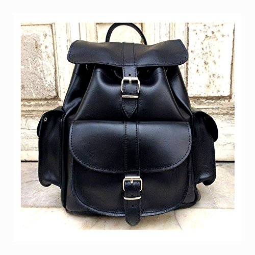 BLACK LEATHER BACKPACK Woman Backpack from Real Full Grain Leather by Nickys Leather