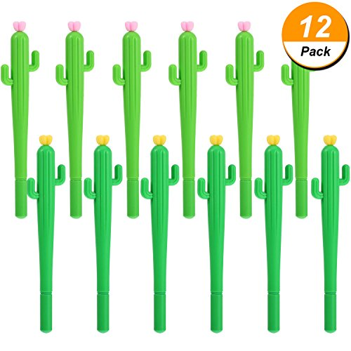 Mtlee 12 Pieces Cactus Shaped Rollerball Pen Cute Creative 0.5 mm Black Ink Gel Pens