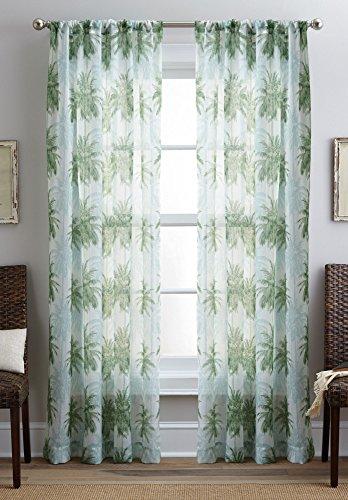 Sheer Palm Tree - CHF Destinations 2-pc. Palm Tree Sheer Curtain Panel Set 84'' Green/white
