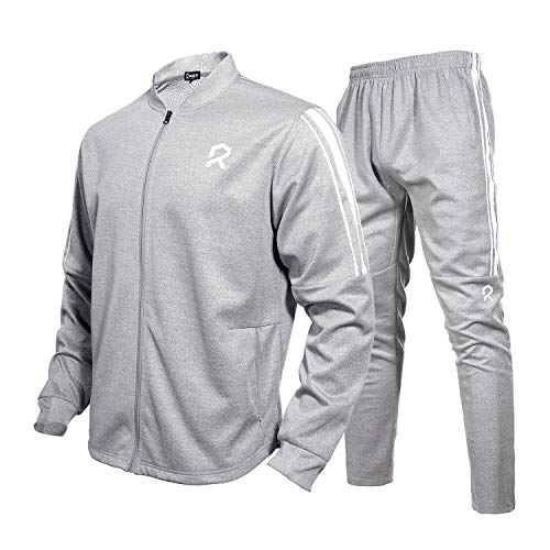 Rambler Men's Tracksuit 2 Piece Jacket & Pants Jogging Athletic Suit Casual Full Zip Sweatsuit(L) Grey