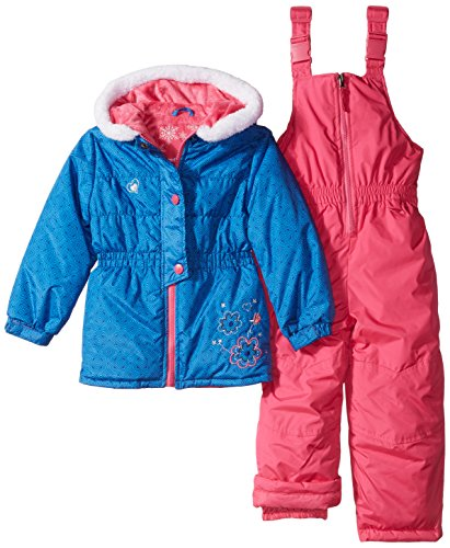 Rugged Bear Little Girls' Snowsuit with Flower Detail, Na...