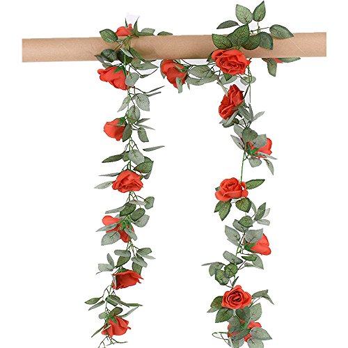 Greentime 2 Pcs Fake Flowers Vine 7.8 FT 16 Heads Silk Artificial Roses Garland Plant for Wreath Wedding Party Home Garden Wall Decoration, Red
