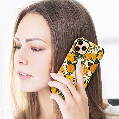 CUSTYPE Case for iPhone 11 Pro Max, iPhone 11 Pro Max Case Floral Chrysanthemum Flower Design Leather Bumper Soft TPU Shockproof Protective Cover for iPhone 11 Pro Max 6.5''