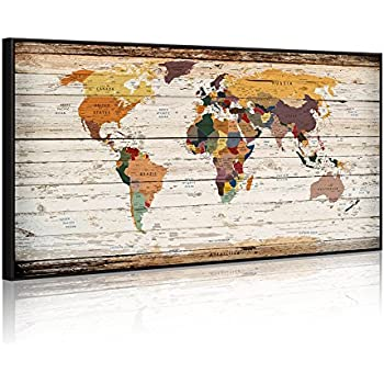 Amazon extreme large 32x55 vintage world map canvas prints extreme large 32x55 vintage world map canvas prints push pin atlas framed map gumiabroncs Choice Image