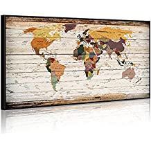 """Extreme Large 32""""x55"""" Vintage World Map Canvas Prints Push Pin Atlas Framed Map Wall Art Decor Trace Travel Marks Map Wall Decor (Black Floater Frame)"""