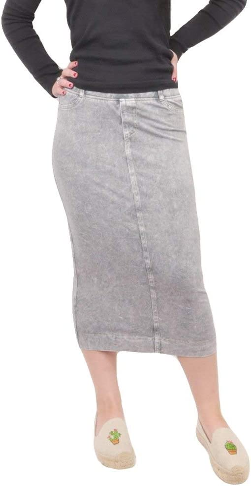 Hard Tail Forever Midi Denim Pencil Skirt with Back Pockets Style MWJ-105
