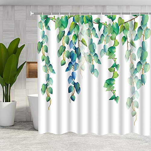DMTTY Green Leaf Shower Curtain Watercolor Tropical Green Ivy Leaves Bathroom Curtain Plant Fabric Bathroom Accessories Polyester with Hooks